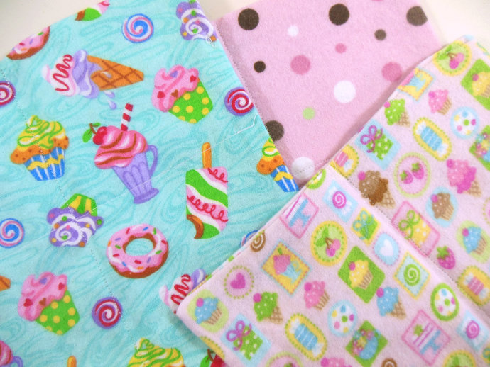 Cloth Wipes, Washcloths, Burp Cloths, Handkerchiefs Set of 12 in Sweet Treats