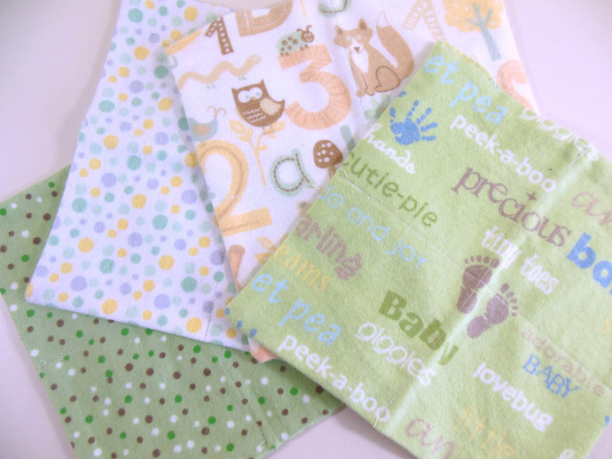 Cloth Wipes, Washcloths, Burp Cloths, Handkerchiefs in Neutral Prints Set of 12