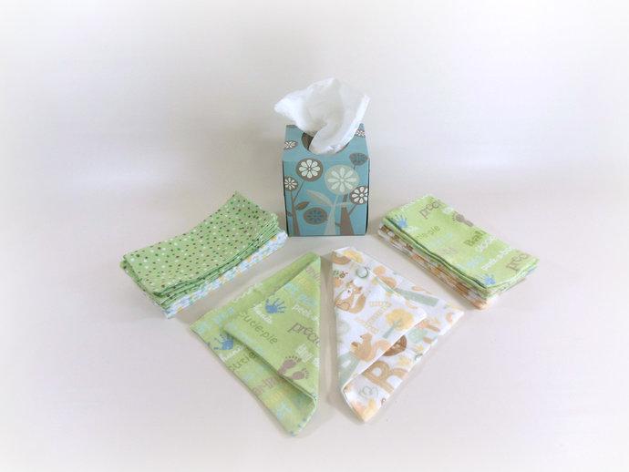 Cloth Wipes, Washcloths, Burp Cloths, Handkerchiefs in Neutral Prints Set of 12