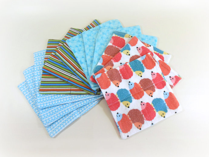 Cloth Wipes, Washcloths, Burp Cloths, Handkerchiefs in Hedgehogs, Stripes, &