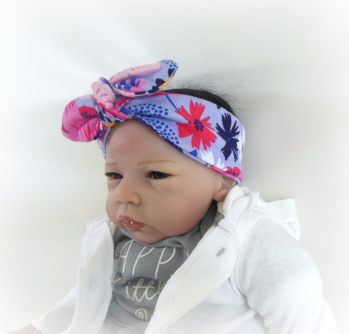 Infant Stretch Tie Knot Headband in Purple Pink Flowers