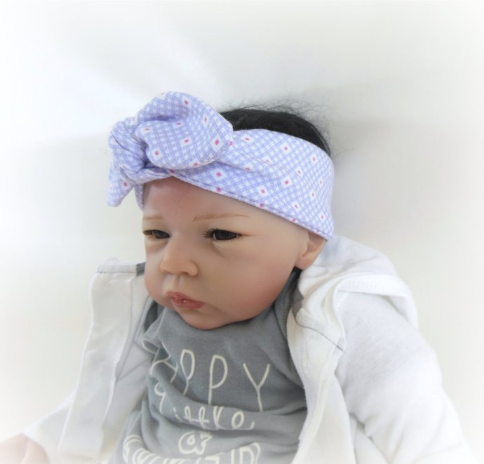 Infant Stretch Tie Knot Headband in Purple & Pink