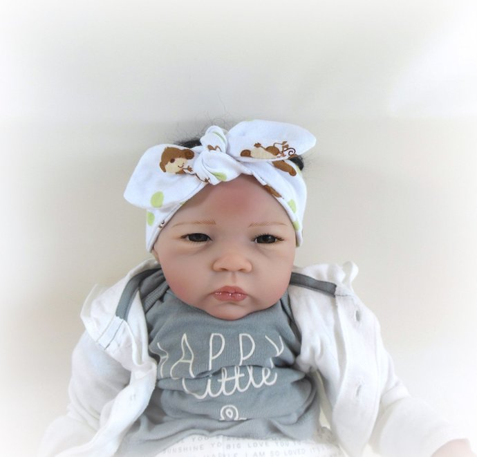 Infant Stretch Tie Knot Headband in Monkeys and Polka Dots