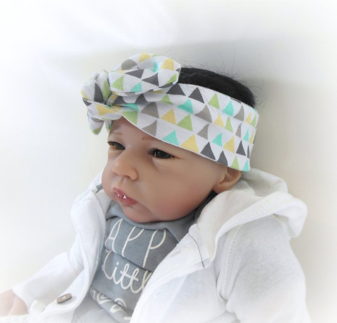 Infant Stretch Tie Knot Headband in Pastel Triangles