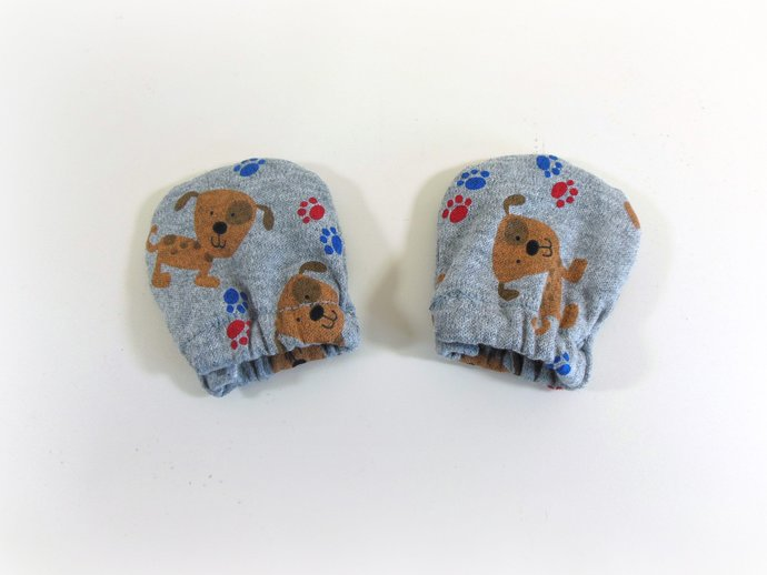 Infant Scratch Mittens, Baby Mittens, No Scratch Mittens in Dogs and Paw Prints