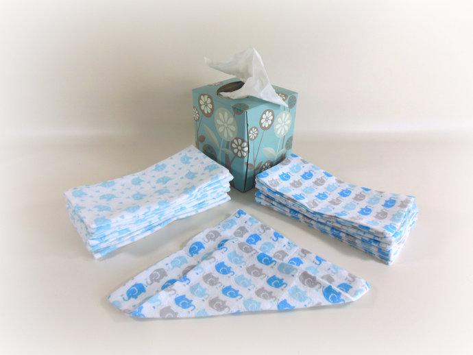 Cloth Wipes, Washcloths, Burp Cloths, Handkerchiefs Set of 12 in Blue Elephants