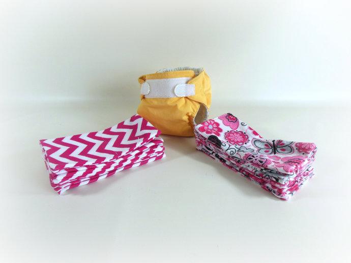 Cloth Wipes, Washcloths, Burp Cloths, Handkerchiefs Set of 12 in Butterflies and