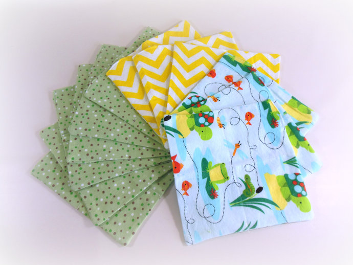 Cloth Wipes, Washcloths, Burp Cloths, Handkerchiefs Set of 12 in Turtles, Frogs,