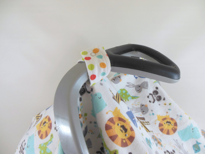 Car Seat Canopy, Car Seat Cover, Cart Cover, Blanket in Animals and Polka Dots
