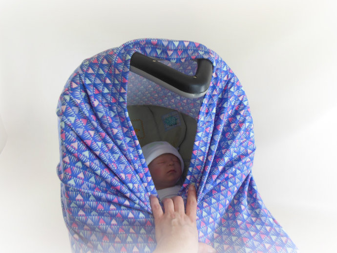 4 in 1 Car Seat Canopy, Nursing Cover, Cart Cover, High Chair Cover in Purple