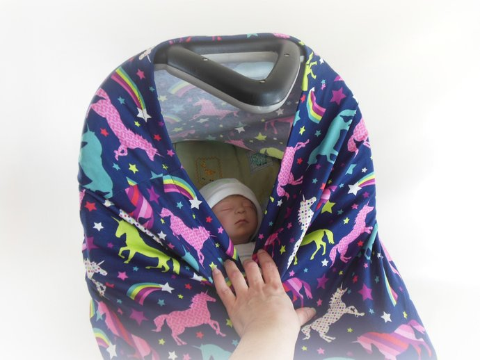4 in 1 Nursing Cover, Car Seat Canopy, Cart Cover, High Chair Cover in Unicorns