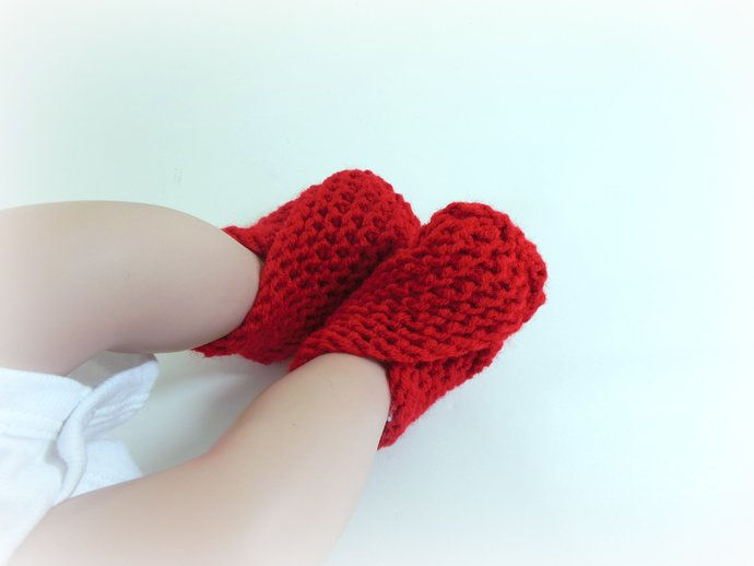Newborn Knit Booties, Slippers, Shoes in Red