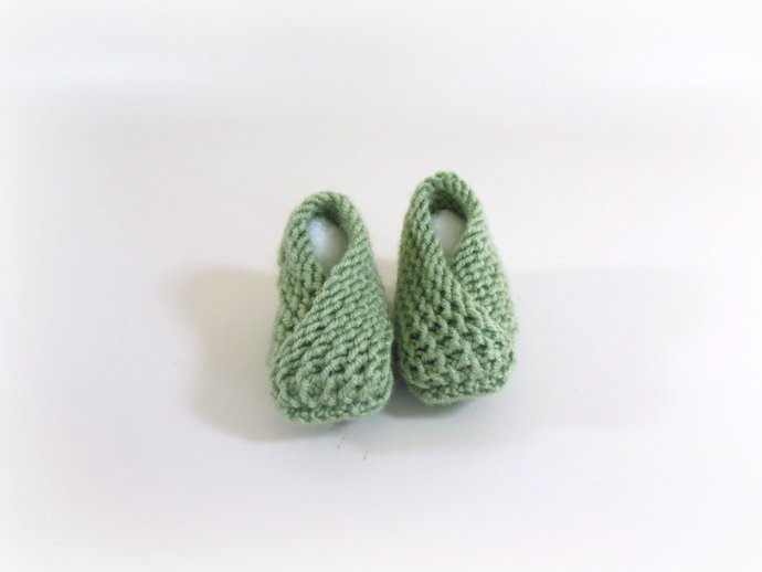 Newborn Knit Booties, Slippers, Shoes in Frost Green