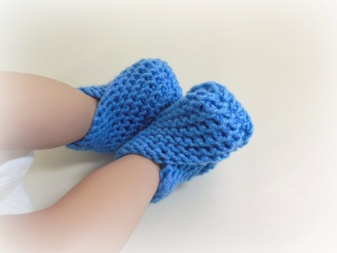 Newborn Knit Booties,Socks, Slippers, Shoes in Periwinkle Blue