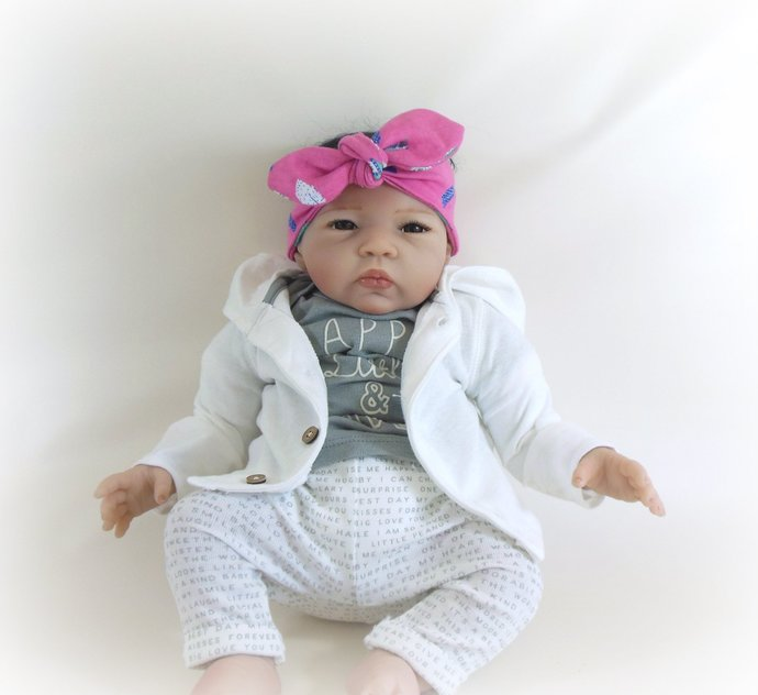 Infant Stretch Tie Knot Headband in Pink Feathers