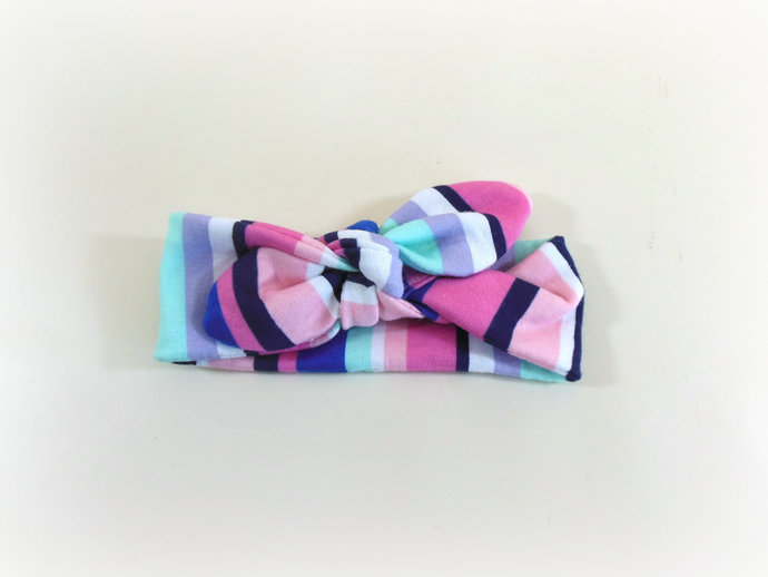 Infant Stretch Tie Knot Headband in Pastel Stripes