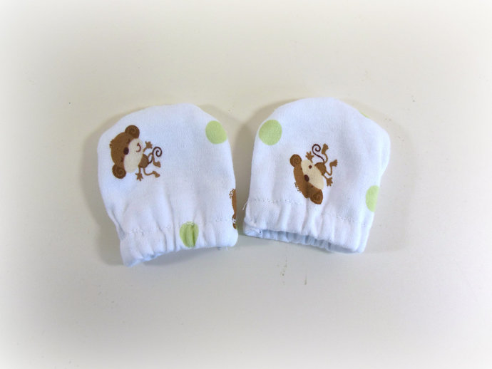 Infant Scratch Mittens, Baby Mittens, No Scratch Mittens in Monkeys and Dots