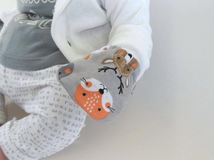 Infant Scratch Mittens, Baby Mittens, No Scratch Mittens in Woodland Animals