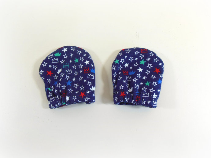 Infant Scratch Mittens, Baby Mittens, No Scratch Mittens in Prince Crowns Blue