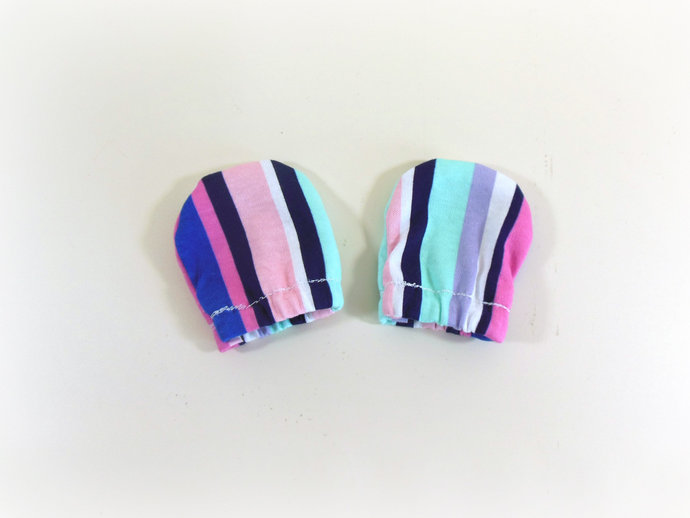 Infant Scratch Mittens, Baby Mittens in Pastel Stripes