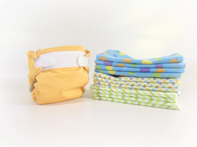 Cloth Wipes, Washcloths, Burp Cloths, Handkerchiefs in Dots and Chevrons Set of