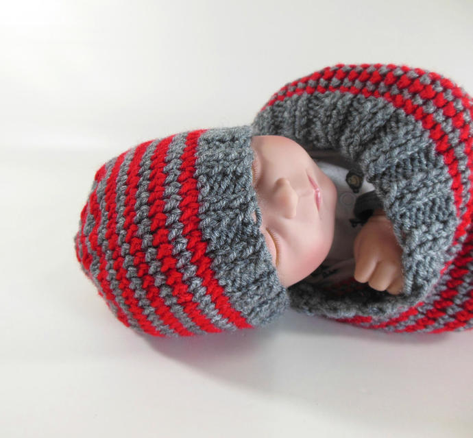 Knit Beanie Hat Newborn Size in Gray and Red Stripes