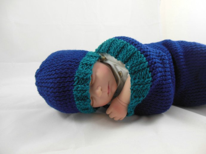 Cocoon, Sleep Sack, Sleep Bag, Blanket, Wrap in Teal & Navy