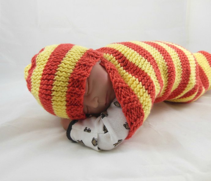 Knit Beanie Hat in Newborn Size in Orange & Yellow Stripes