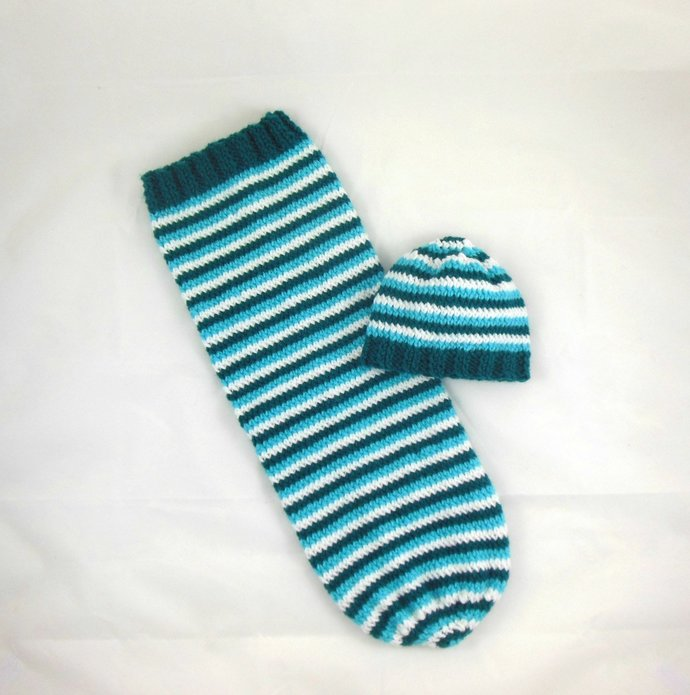Knit Beanie Hat Newborn Size in Turquoise, Teal, White Stripes