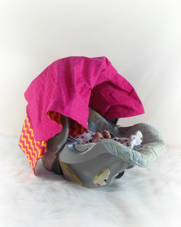 Car Seat Canopy, Car Seat Cover, Cart Cover, Play Blanket in Pink and Yellow