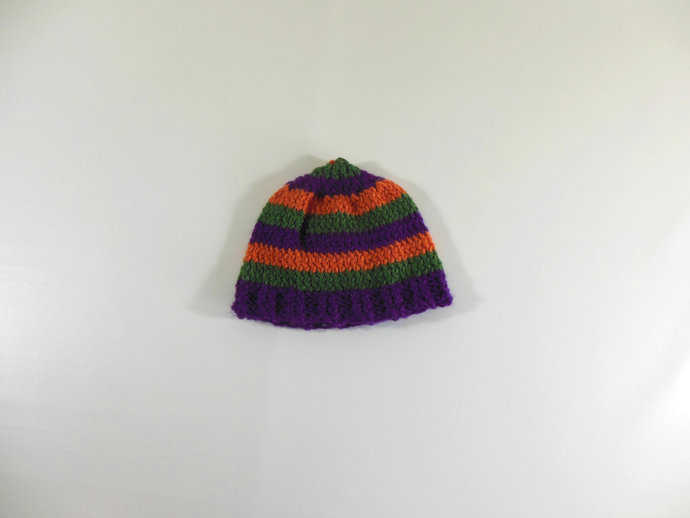 Knit Beanie Hat Newborn Size in Purple, Green, & Orange Stripes