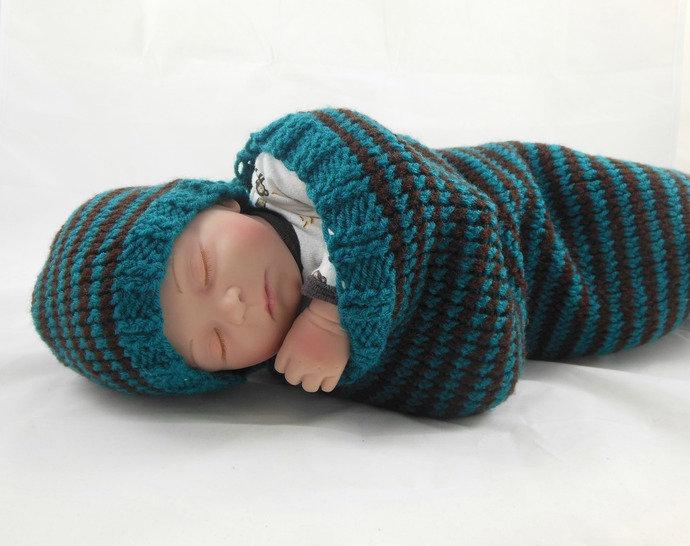 Cocoon, Sleep Sack, Sleep Bag, Blanket, Wrap in Teal and Brown Stripes