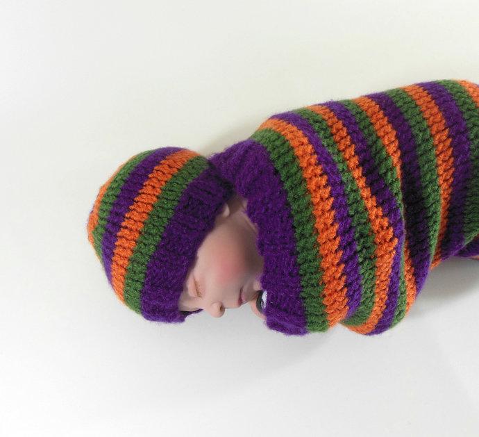 Cocoon, Sleep Sack, Sleep Bag, Blanket, Wrap in Purple, Green, & Orange Stripes