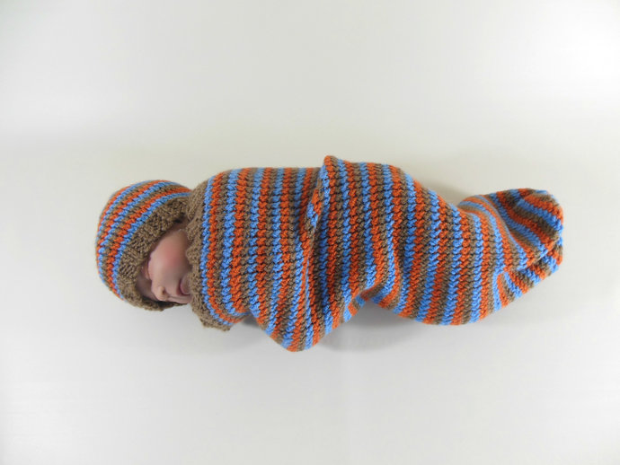 Cocoon, Sleep Sack, Sleep Bag, Blanket, Wrap in Brown, Blue, & Orange Stripes