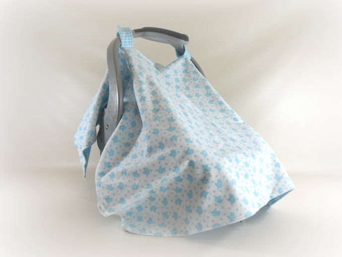 Car Seat Canopy, Car Seat Cover, Cart Cover, Play Mat, Blanket in Blue Elephant