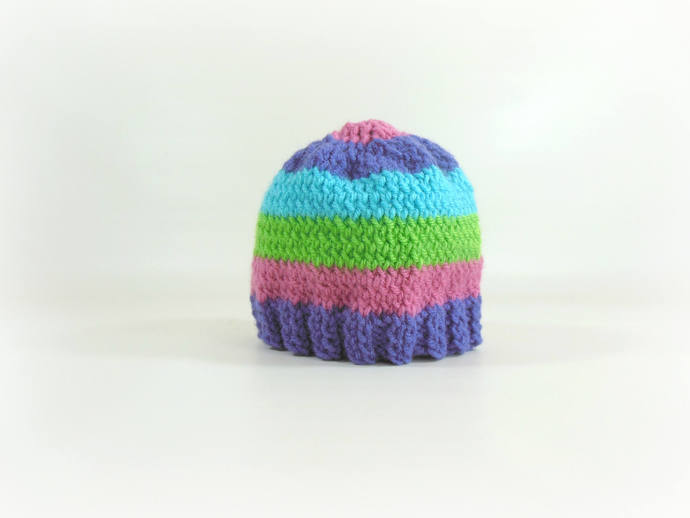 Knit Infant Beanie in Purple, Pink, Turquoise, & Green Stripes