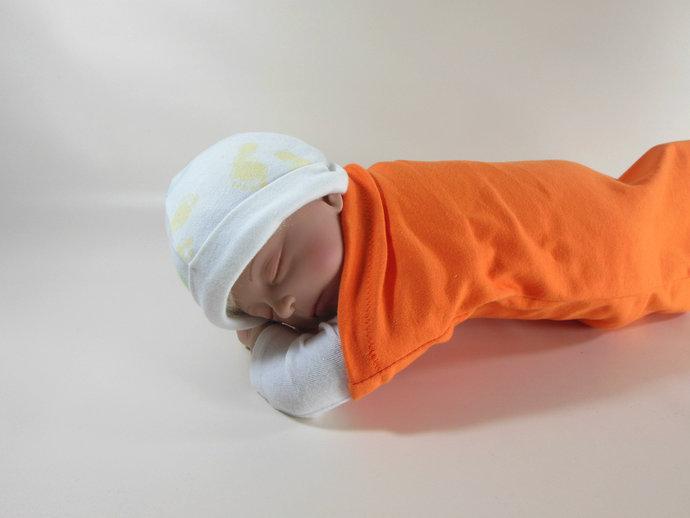 Swaddle Sack, Sleep Sack, Cocoon, Blanket, Wrap in Orange