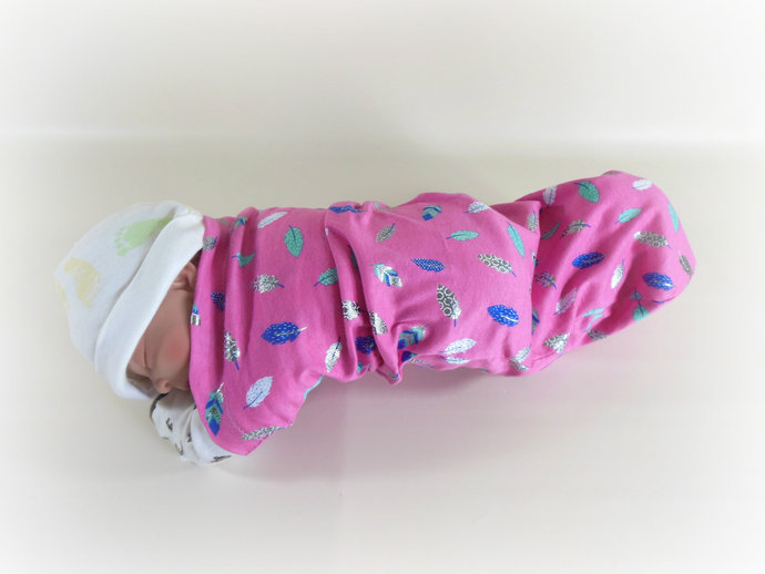 Swaddle Sack, Sleep Sack, Cocoon, Blanket, Wrap in Pink Feathers