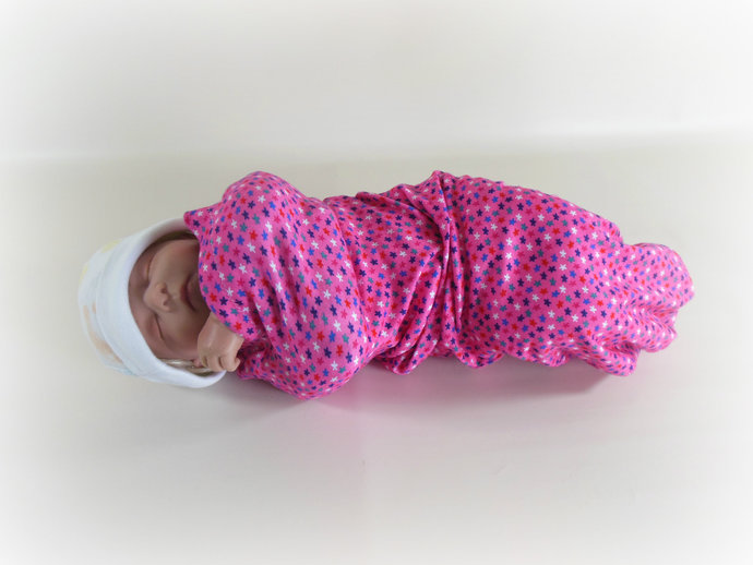 Swaddle Sack, Sleep Sack, Cocoon, Blanket, Wrap in Pink Stars