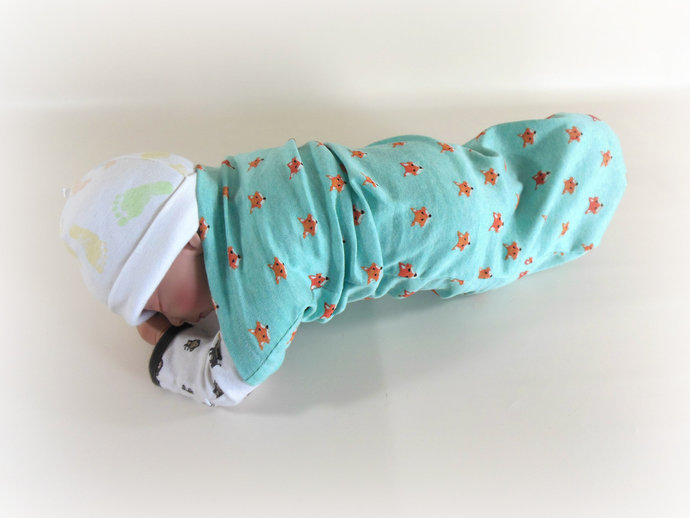 Swaddle Sack, Sleep Sack, Cocoon, Blanket, Wrap in Foxes on Sea Green