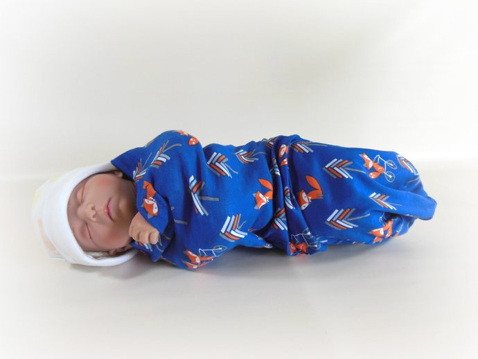 Swaddle Sack, Sleep Sack, Cocoon, Blanket, Wrap in Arrows and Foxes