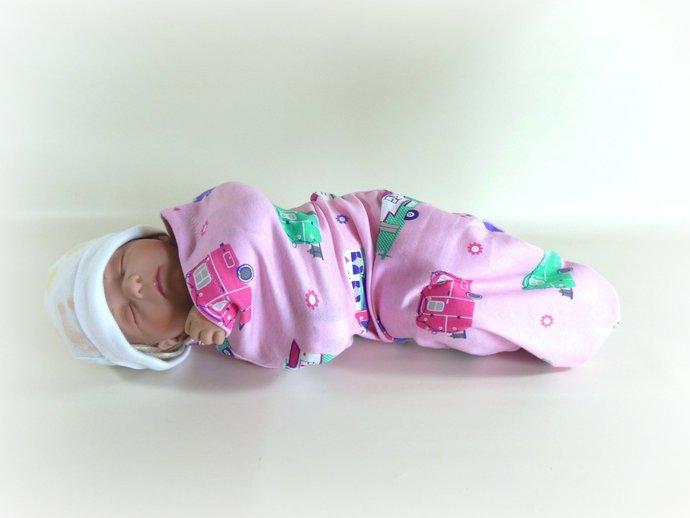 Swaddle Sack, Sleep Sack, Cocoon, Blanket, Wrap in Happy Camper Pink