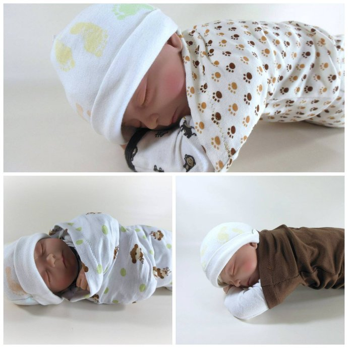 Set of 3 Swaddle Sacks, Sleep Sack, Cocoon, Blanket, Wrap in Monkey, Paw, &