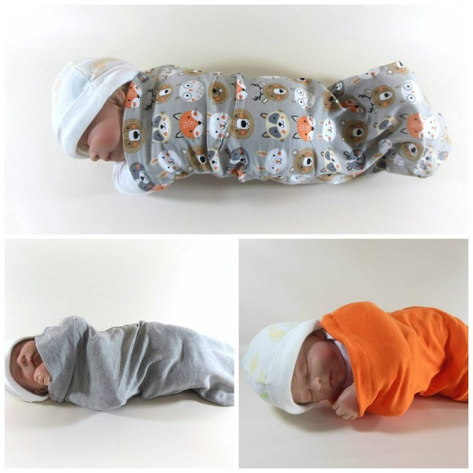 Set of 3 Swaddle Sacks, Sleep Sack, Cocoon, Blanket, Wrap in Woodland Animals &