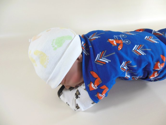 Set of 3 Swaddle Sacks, Sleep Sack, Cocoon, Blanket, Wrap in Foxes & Solid