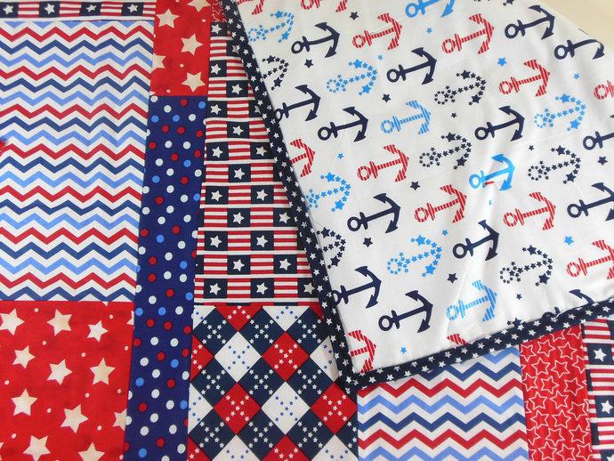 OOAK Crib Quilt, Patriotic Quilt, Toddler Nap Quilt, Child Lap Quilt in Red,