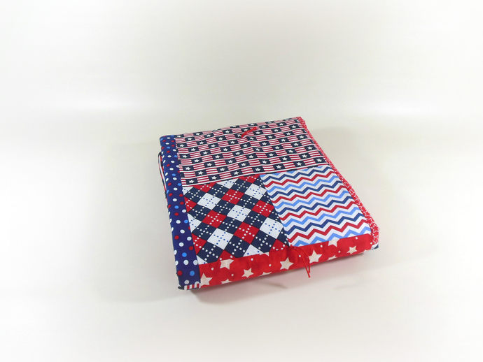 OOAK Crib Quilt, Patriotic Quilt, Toddler Nap Quilt, Child Lap Quilt in Red,