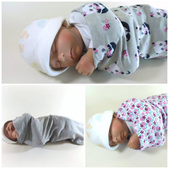 Set of 3 Swaddle Sacks, Sleep Sack, Cocoon, Blanket, Wrap in Panda, Flower, &