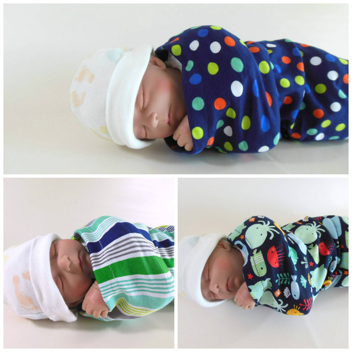 Set of 3 Swaddle Sacks, Sleep Sack, Cocoon, Blanket, Wrap in Ocean Animals,