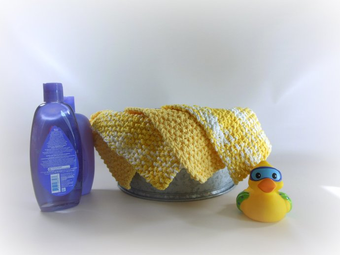 Double Knit Set of 4 Washcloths in Shades of Yellow